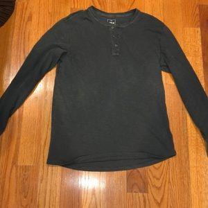 Men's gap  dark grey Henley long sleeve shirt
